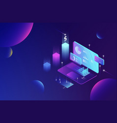 online financial data analysis isometric concept vector image