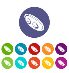 oval clothes button icons set color vector image