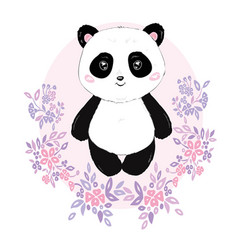 panda cute panda head isolated on white vector image