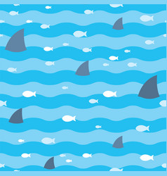 pattern fish and fins sharks swimming in blue sea vector image