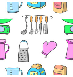 Pattern kitchen set style collection vector