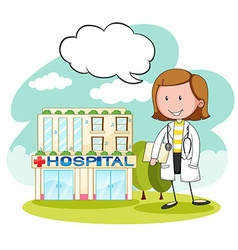 Physician in front of hospital vector image