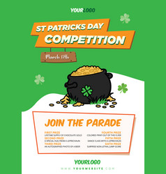 pot gold st-patricks day flyer template vector image