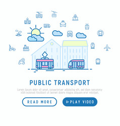 public transport in big city concept vector image