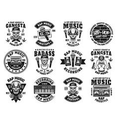 rap and hip-hop set twelve black emblems vector image