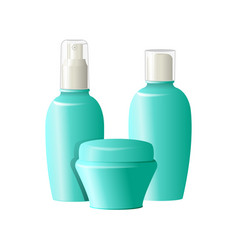 realistic cosmetic bottles on white background vector image