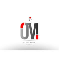 Red grey alphabet letter om o m logo combination vector