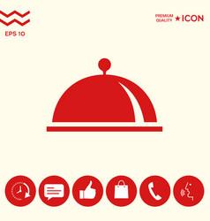 Restaurant steel serving tray cloche symbol vector