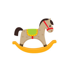 Rocking horse wooden toy flat vector