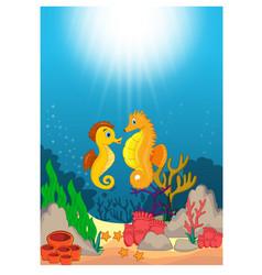 seahorse in beautiful underwater world cartoon vector image