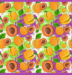 Seamless pattern apricot fruits summer ornament vector