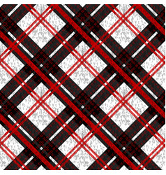 Seamless plaid check pattern in red white and vector