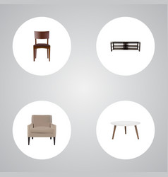 Set of decoration realistic symbols with stool vector