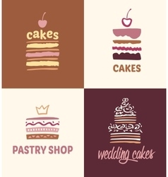 Set of patterns logos cakes vector image