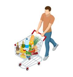 shopping cart full food man pushing vector image