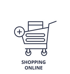 shopping online line icon concept shopping online vector image