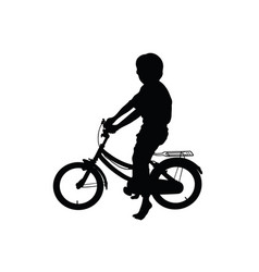 Silhouette children playing bicycles vector