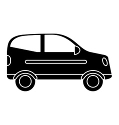 Silhouette hatchback car vehicle side view vector