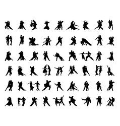 Silhouettes tango players vector