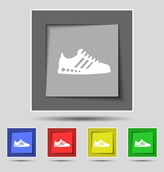Sneakers icon sign on original five colored vector image