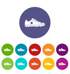 Soccer shoe icons set flat vector