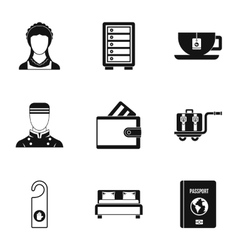 Staying in hotel icons set simple style vector