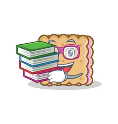 student with book biscuit cartoon character style vector image