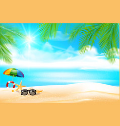 Summer abstract background sand beach with palm vector