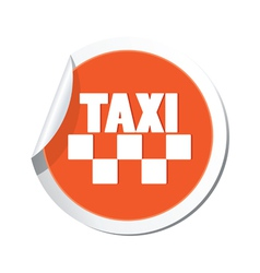 Taxi sign orange sticker vector