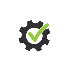 Tick or checkmark in gear abstract technical vector