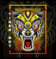 tiger head robot esport mascot logo design vector image