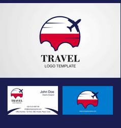 Travel poland flag logo and visiting card design vector