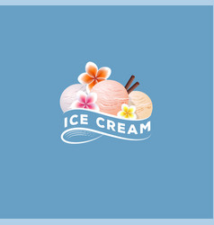Tropic ice cream three scoops flowers vector