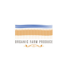 wheat field logo farm fresh products label vector image