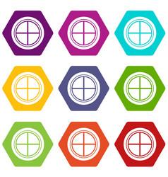 white round window icon set color hexahedron vector image