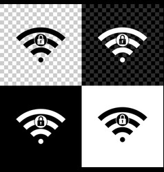 wifi locked sign icon isolated on black white and vector image