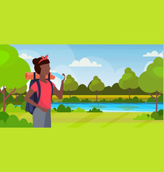 woman hiker with backpack drinking water african vector image