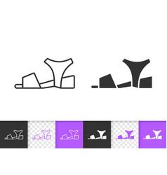 Women shoes simple black line icon vector