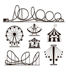amusement park roller coasters and carousel vector image vector image
