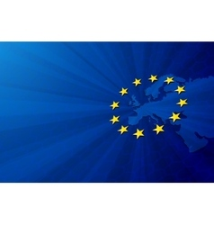 Europe map and European union flag vector image