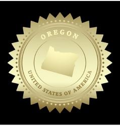 Gold star label Oregon vector image
