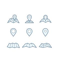 navigation map and pin icons vector image vector image