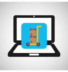 online delivery concept trolley boxes vector image