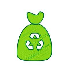 trash bag icon lemon scribble icon on vector image vector image