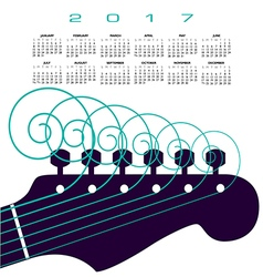 A 2017 calendar with a guitar with curly strings vector image