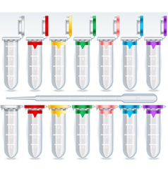 Eppendorf Opened and Closed Multi Colour Set vector image vector image