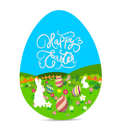 happy easter with eggs and bunny landscape vector image vector image