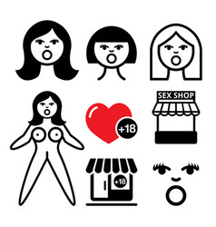 Inflatable sex doll sex shop icons set vector