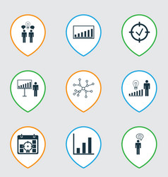 Set of 9 board icons includes bar chart project vector