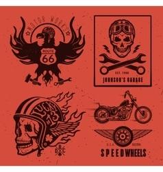 Set of vintage motorcycle labels vector image vector image